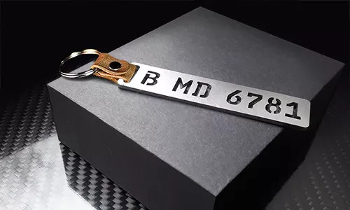 license plate keychains milled stainless steel