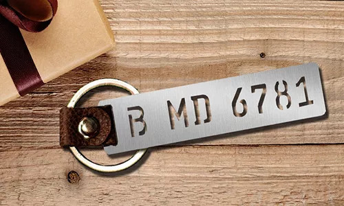 license plate keychains milled stainless steel by the gift