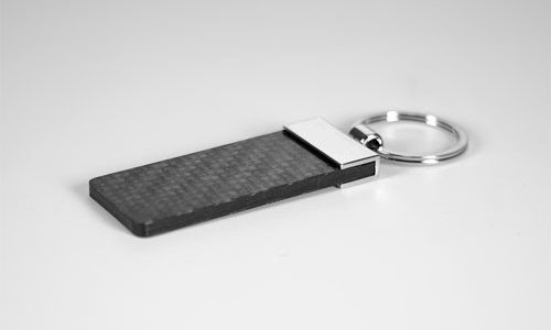 carbon luxury keychain - side view