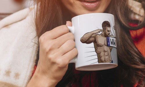 Sexy mug in the woman's hand