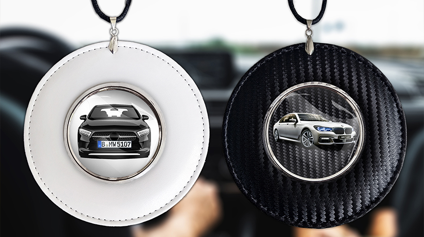 Car mirror chain with photo