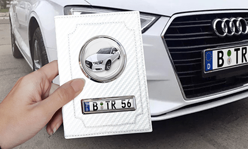 Car Documents Holder - White Carbon