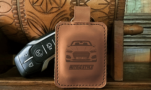 Real Leather Keychain - Brown Leather