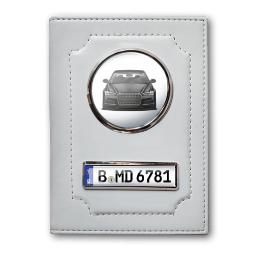 Car Documents Holder - White Leather