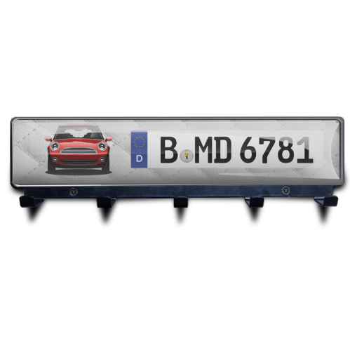 Luxury Key Board Car Silhouettes License Plate - Black Powdered