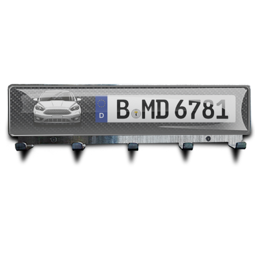 Luxury Key Board Car Silhouettes License Plate - Chrome