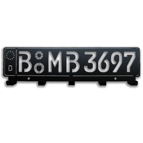 Milled Key Board License Plate - Black Powdered