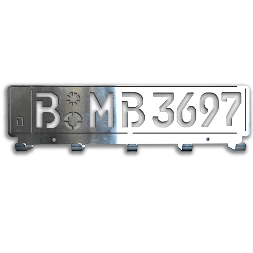 Milled Key Board License Plate - Chrome