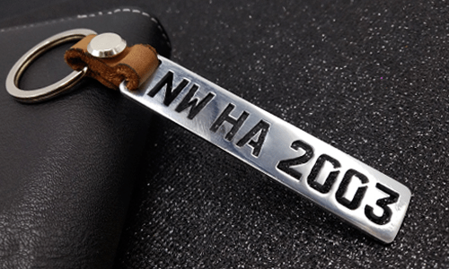 Keychain License Plate Milled - Brushed Stainless Steel